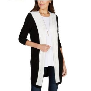 Style&Co XL Colorblocked Cable Knit Cardigan 4Z58